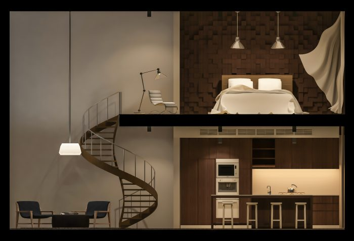 3Ds rendered image of double space apartment in living box,White fabric curtains being blown by wind, elevation view in night time